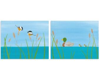 Duck and Chickadee Print Set - Cute Lake Theme House Decor - Lake Decorations