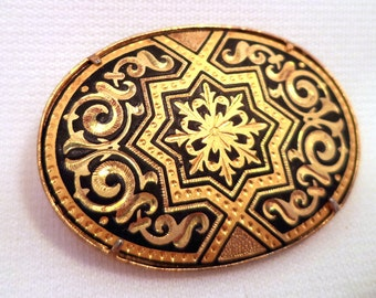Black and Gold Ornate Damascene Brooch