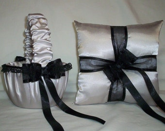 Silver Satin With Black Lace Trim Flower Girl Basket And Ring Bearer Pillow Set 1