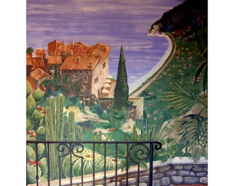 Balcony on the French Riviera, Eze Village,Above France Mediterranean,Original illustration Artist Print Wall Art, Free Shipping in USA.