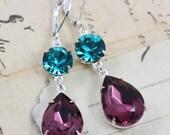 Purple Teal Earrings - Peacock Wedding Purple Earrings Turquoise Earrings Amethyst Blue Zircon Silver Earrings - Clip ons available