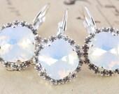 Opal Bridesmaids Gift Earrings White Opal Crystal Set of 9 Pairs Wedding Earrings Swarovski Crystal Silver