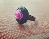 CUSTOM for Jared - Mary's Secret Roses - lavender - Vintage Button Ring - Secret Garden