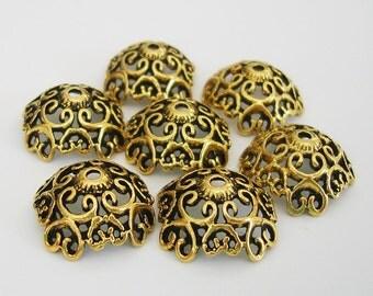 6-Large Antiqued Gold Flower Bead Cap 20mm.