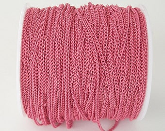 Deep Pink Electroplated  Twist  Curbe Chain Colored Chain-15 ft.