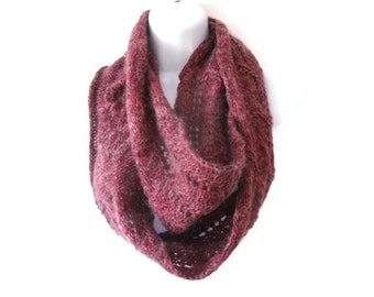 Mauve Infinity Scarf , Lace Infinity Scarf, Cranberry Mohair Scarf , fall accessories , knitted lace infinity scarf, Knit Scarf flowers
