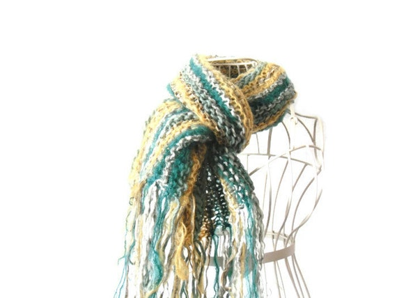 Mohair womens scarf / shawl / wrap - REDUCED PRICE - Striped festive green & yellow wool mix yarns - hand knitted
