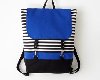 BLUE. Black stripe canvas backpack / diaper bag / school bag / laptop bag / With clasp closure, Front pocket, Design by BagyBags