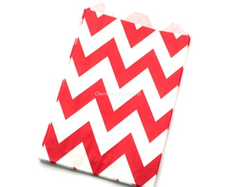 Red Chevron Favor Bags 12 Red Wedding Candy Buffet Dessert Bar Baby Shower Paper Goods Kids Birthday Party Popcorn Bags Clearance Sale