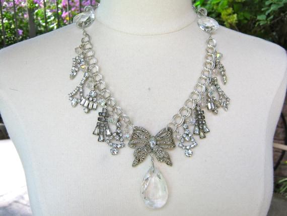 RESERVED for Donna - Statement Necklace, Vintage, Rhinestone, Wedding, Chandelier, Silver, Crystal, Black Tie, Jennifer Jones - Shimmer