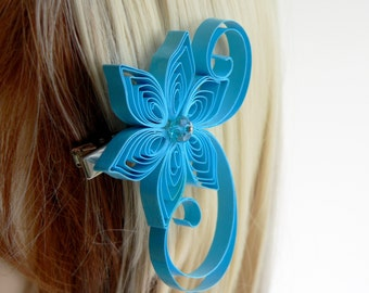 Ocean Blue Wedding Hair Clip, Blue Floral Hairpiece for Bridesmaids, Ocean Wedding