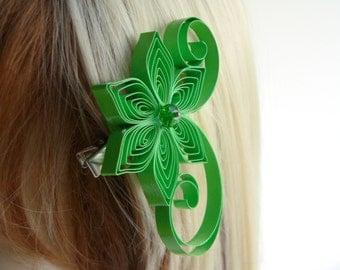 Spring Green Wedding Hair Clip, Grass Green Wedding Hair Accessory