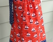 Girls Pillowcase Dress in ship shape Michael Miller Fabric custom made by Baby Harrill