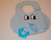 Clearance priced Elephant Bib Pacifier Holder in Blue