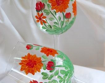 Orange Mums Wine Glasses - hand painted - set of 2