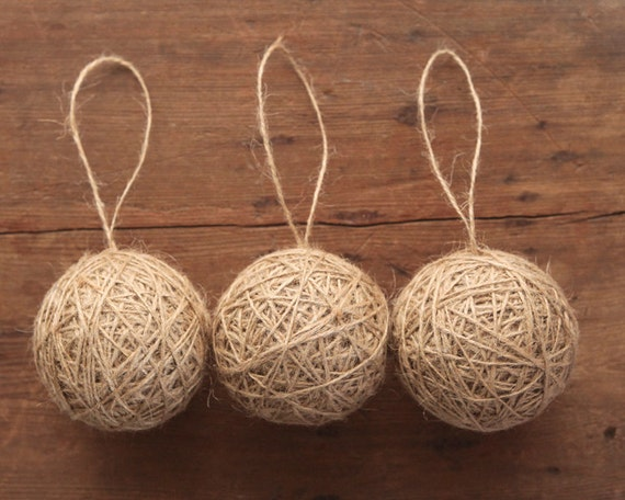 Rustic Twine Ball Ornaments - Set of 3