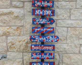 Street signs for Anniversary Present Places you have traveled Custom Order for 10 signs What colors would you like