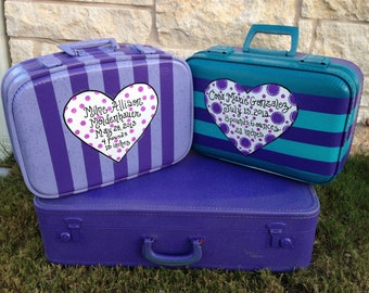 2 Vintage Suitcases Custom made for the new grandbabies Store First Keepsakes inside
