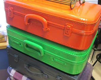 """Suitcase Stack of 3 cases, 2 vintage, one new...20"""" tall when stacked"""
