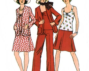 Simplicity 6547 Vintage 70s Misses' Top, Short Skirt, Cardigan and Pants Sewing Pattern - Uncut - Size 12 - Bust 34