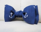 Toddler/Boy's Sailor Anchor Bow Tie Clip in Navy, Yellow & Grey