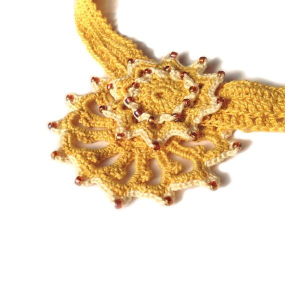 Crochet Gold Star - Beaded Choker