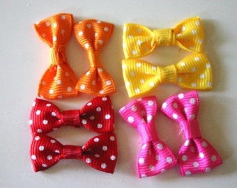 Kawaii Polka dot bows - Japanese Bow Appliques (2 of each color - 8 pieces total)
