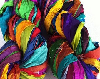 Recycled sari silk ribbon, 300g, rich quality premium silk sari ribbon in multicoloured tones. Unique vibrant sari silk art yarn.