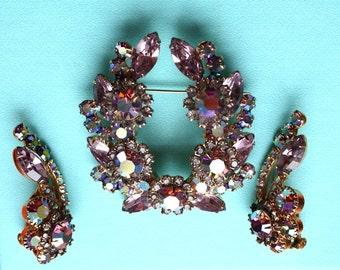 Brooch & Earrings Vintage Horseshoe Wreath Demi Parure Set 1960 Era