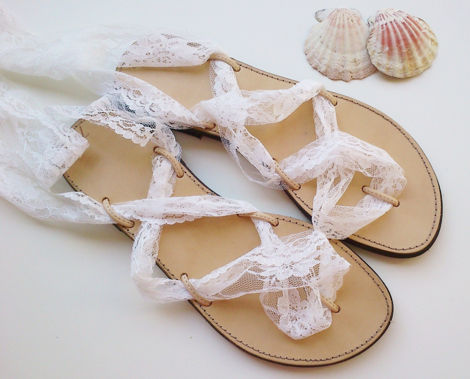 Leather sandalslace up sandals wedding shoes wedding for Flat dress sandals for weddings