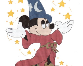 Fantasia Mickey Mouse Wizard counted Cross Stitch Pattern