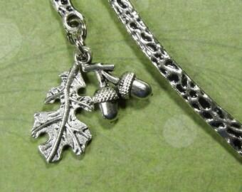 Silvery oak leaf & acorns bookmark