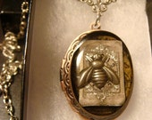 Steampunk Locket Necklace with Upcycled Watch Face and Silver Bee (1365)
