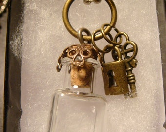 Steampunk Wish Bottle Necklace with Lock and Key (1141)