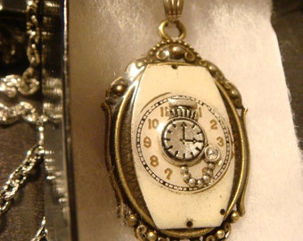 Recycled Watch Face with Tiny Pocket Watch Steampunk Pendant Necklace Victoran Style - Upcycled Jewelry - (1349)