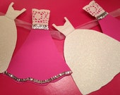 Wedding Dress Garland Paper Bridal Shower Decoration Sparkly White, Hot Pink, fuschia  Silver, White, Lace