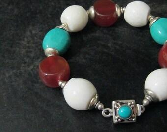 Southwest Bracelet | Mixed Gemstone Bracelet | Turquoise Carnelian White Coral | Chunky Southwestern Jewelry | Multi Color Bracelet