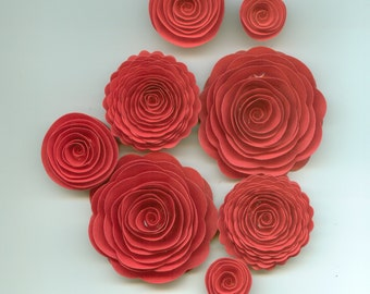Lipstick Red Rose Handmade Spiral Paper Flowers