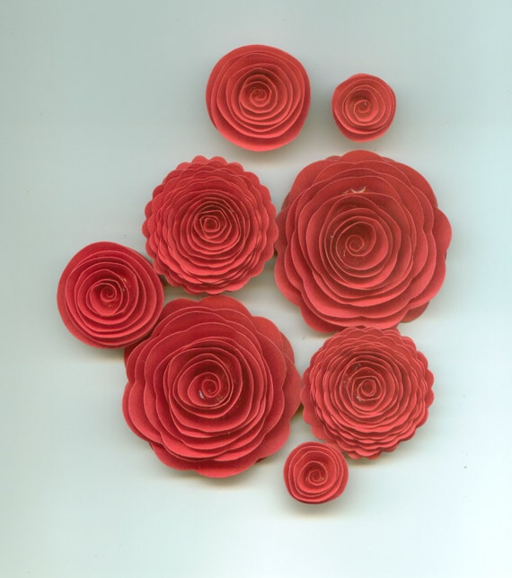 Lipstick Red Rose Handmade Spiral Paper Flowers From