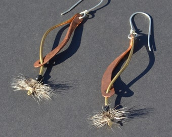 Industrial Mixed Metal Copper, Brass, Sterling Silver, and Feather Earrings