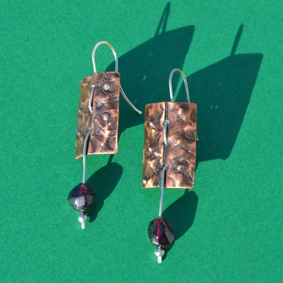 SALE Copper, Sterling Silver and Garnet Earrings (Price was 28.00)