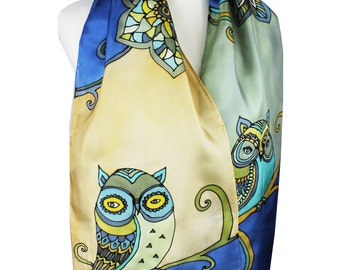 Silk Scarf Owls in Shades of Blue and Beige Painted Silk Scarf Winter Fashion Women Gift Idea Nature Inspired Owl Character Scarf