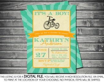 Boys Baby Shower Invitation - Tricycle, Vintage, Teal, Orange, Printable, Digital