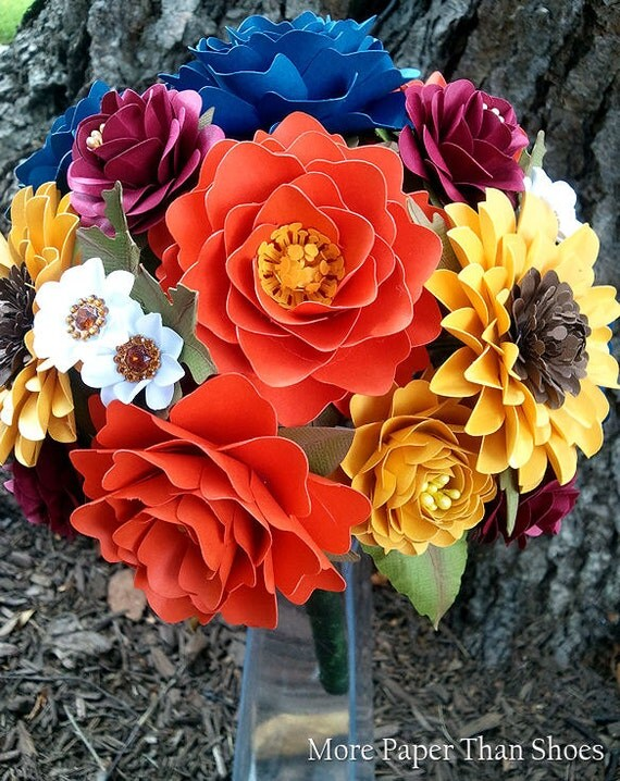 Paper Bouquet - Wedding Bouquet - Fall Bouquet - Late Summer Wedding - Custom Made - Any Color