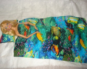 Colorful ocean print pillow and blanket set for Fashion Dolls - bdfb1