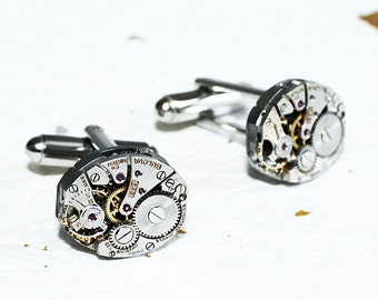 BULOVA Men Steampunk Cufflinks - Men Wedding Gift - Vintage Watch Movement Steampunk Cufflinks Watch Cuff Links Men Wedding Gift for Him