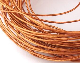 LRD0105044) 0.5mm Bronze Genuine Metallic Round Leather Cord.  1 meter, 3 meters, 4.2 meters.  Length Available.