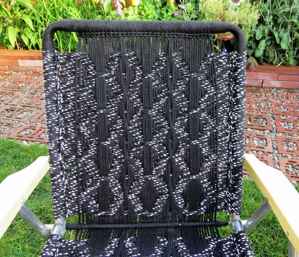 Vintage Macrame Folding Lawn Chairs Black And White 1979