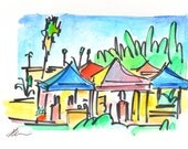 Golden Hill Farmers Market - San Diego Watercolor Painting