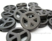 Peace Sign Beads, Black Magnesite Small 15mm - 12pc